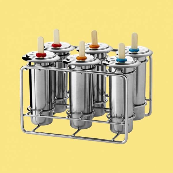 Bilde av 6 stk runde ispinneformer i stål / Pulito