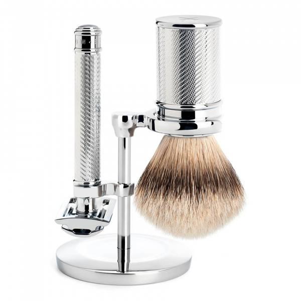 Bilde av Barbersett i stål med stativ, høvel og silvertip kost / Mühle